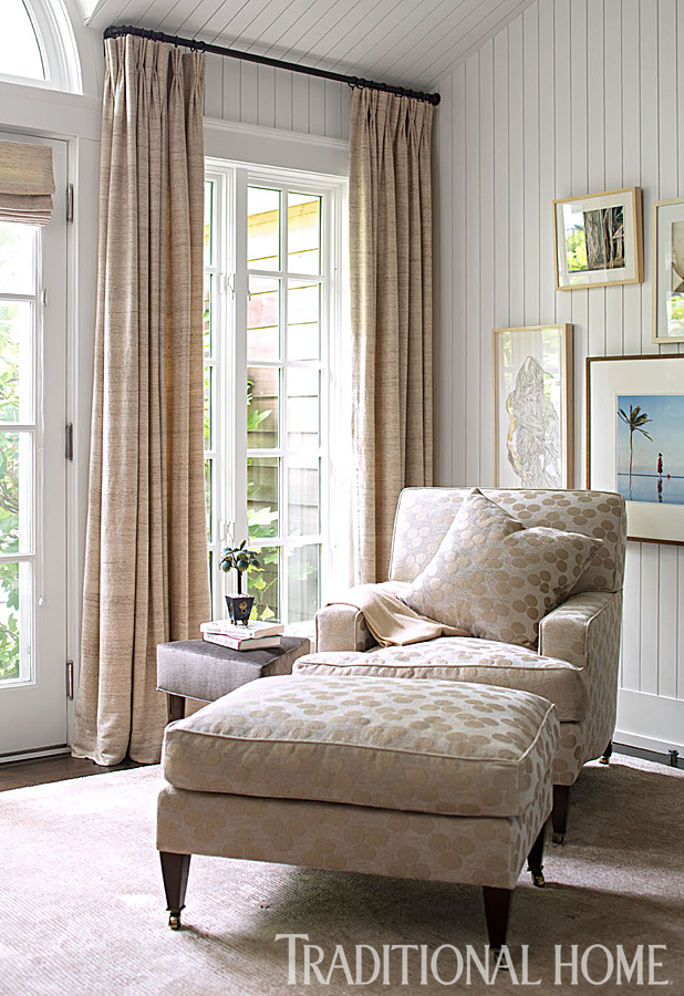 Anichini's Ara hand loomed silk curtain panels in a sitting room at this Southampton Summer House. Via Traditional Home