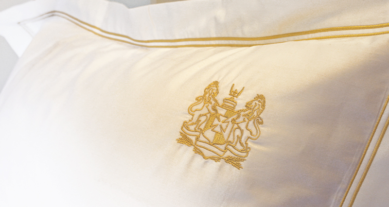 Anichini Custom Embroidered Sheeting for the Hotel Monteleone