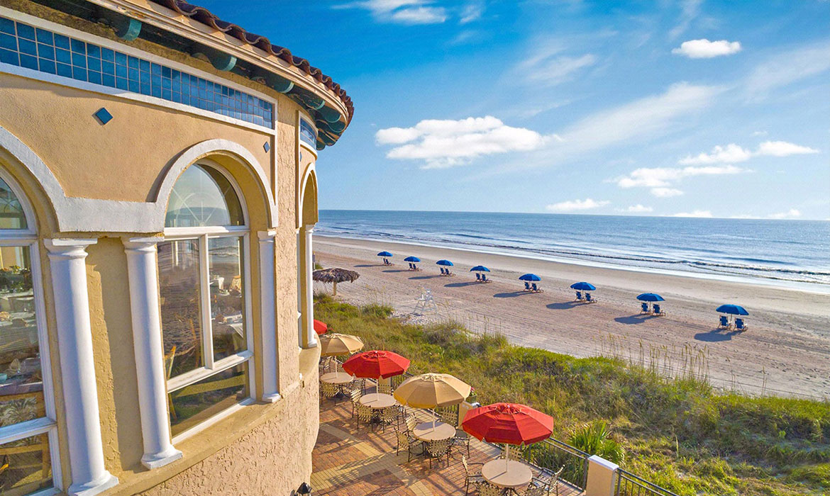 The Ponte Vedra Beach Resorts, luxury oceanside resorts with Anichini bedding.